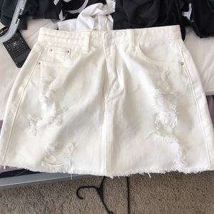 7839ef9469 Dresses & Skirts - White distressed jean skirt